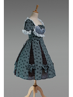 Puffy Short Sleeves Lolita OP with Bowknots Decorated Skirt