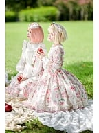 DevilInspired Special Offer - Strawberry Picking Twill Fabric Sweet Lolita Dress Long Sleeves OP by Lollipops Lolita